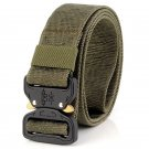 Men's Outdoor Tactical Belt for Jeans Solid Color Canvas Woven Metal Buckle Belt - Army Green