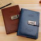 Vintage Faux Leather Combination Lock Journal Lined Diary Notebook - Blue
