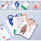 """Forest Friends"" 1pc Canvas File Folder Big Pocket Zip Document Papers Cute Bag"