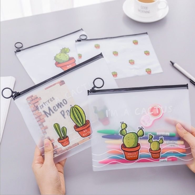 """The Cactus"" Pack of 4 Plastic File Folder Document Stationery Bag Organizer"