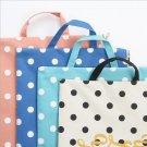 """Dots World"" 1pc Document Case Study Bag Big Size File Folder Pocket Canvas Zip"