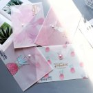 """Pink Pineapple"" Pack of 4 File Folder Plastic Document Stationery Bag Big Size"