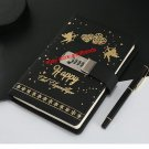 Cupid Love Secret Diary with Creative Lock Leather Cover Ruled Journal - Black