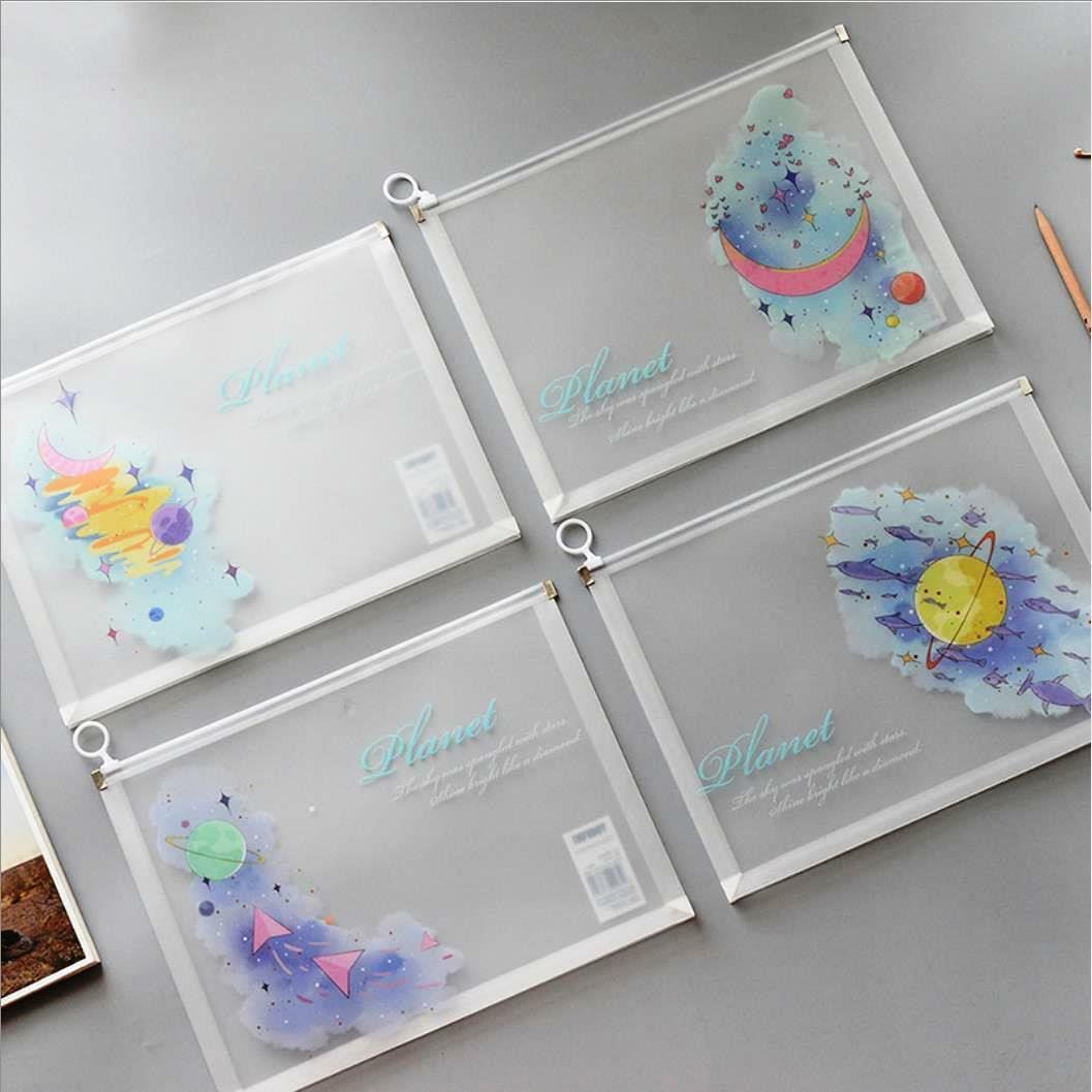 """Cute Planet"" Pack of 4 File Folder One Layer Plastic Document Stationery Bag"