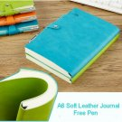 A6 Cyan Super Soft Leather Pocket Journal Lined Paper Diary Notebook Free Pen