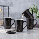 """""""Black Constellation"""" Beautiful Ceramic Mug Cup with Cover Spoon Milk Coffee Cup"""