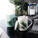 """Green World"" Beautiful Ceramic Mug Cup with Cover Spoon Tea Milk Coffee Cups"