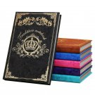 Retro Crown Hardcover Black Paper Notebook, Black Vintage Lined Paper 256 Pages