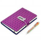 A5 Purple Check Faux Leather Lockable Journal Ruled Lined Diary and Colorful Pen