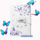 Medium White Faux Leather Secret Diary Lockable Journal 260 Pages Ruled Notebook