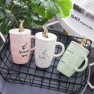"""Golden Rabbit"" Ceramic Mug with Lid Tea Milk Coffee Cup Girls Drinkware Gift"