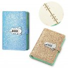 Girls Diary with Lock Code Wirebound Journal, Glitter Leather Notebook for Women