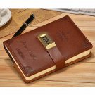 Code Lock Business Journal Notebook for Men Lined Paper Leather Brown,130 Sheets