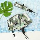 """Green Leaves"" 1pc Compact Girls Boys Fashion Sun Rain Manual Folding Umbrella"