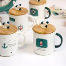 """Little Sailor"" Beautiful Ceramic Mug with Lid Spoon Milk Coffee Cups Kids Mugs"