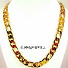 New 24k Yellow Gold Plated 30in Figaro Chain Necklace 12 MM