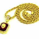 New 18k Yellow Gold Plated 24in Red Ruby Lion Face Hip Hop Rope Chain Necklace