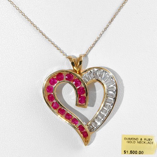 Super Bold Heart Shaped Diamond & Ruby Necklace