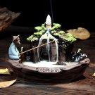 Ceramic Backflow Incense Burner Holder Mountain Stream Fragrant Cone Censer Hom