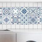 Mediterranean Style Flowers Pearl Film Tile Stickers Bathroom Living Room W