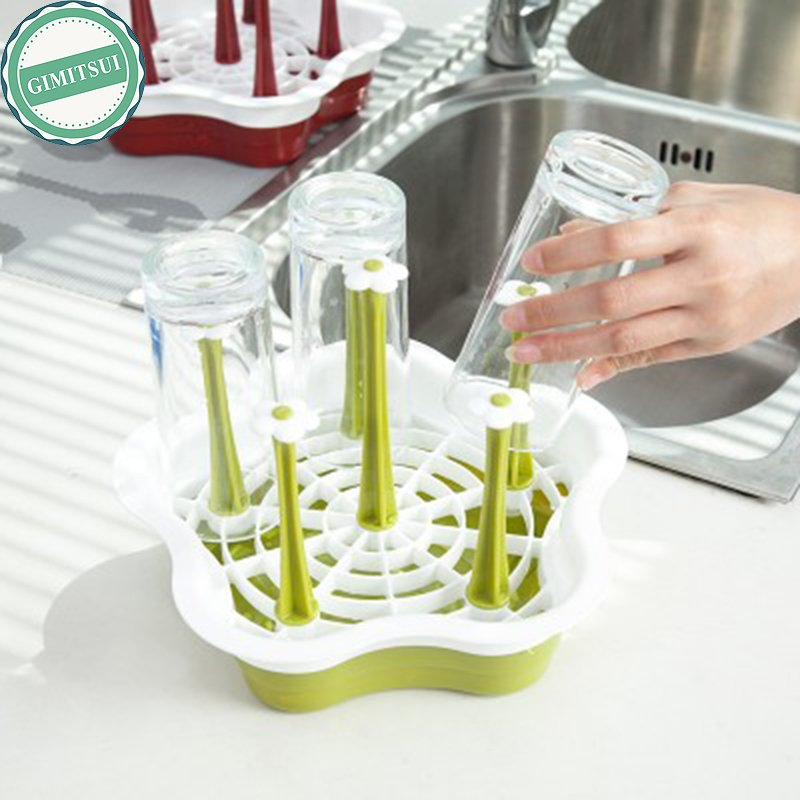 Collapsible Drying Rack For 6 Cups Foldable Cup Holder Kitchen Storage Orga
