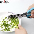 5 Layers Onion Cutter Scissors Kitchen Shears For Cutting Onion Green Sciss