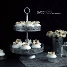 SWEETGO 2 tiers cupcake stand Vintage silver cake decorating tools for dess