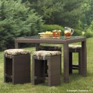 PADMA'S PLANTATION- OUTDOOR 4P TALL RATTAN TABLE WITH STOOLS CAF