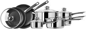 Kinetic- Classicor 11 Piece Stainless Steel Cookware Set with Non-Stick Fry Pans