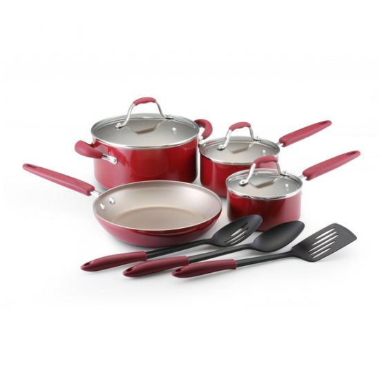 10Pc Webster Place Cookware - Pomogranate