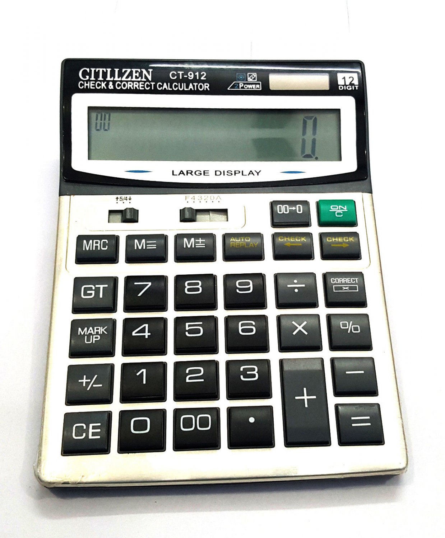 Citizen CT-912 Basic Calculator 12 Digits Big Display Dual Power Calculator