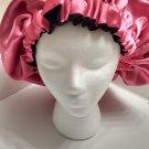 Handmade Reversible Satin Hair Bonnet Pink and Black-XL