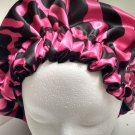 Satin Handmade Reversible Women's Bonnet Pink and Black pattern with Black -XL