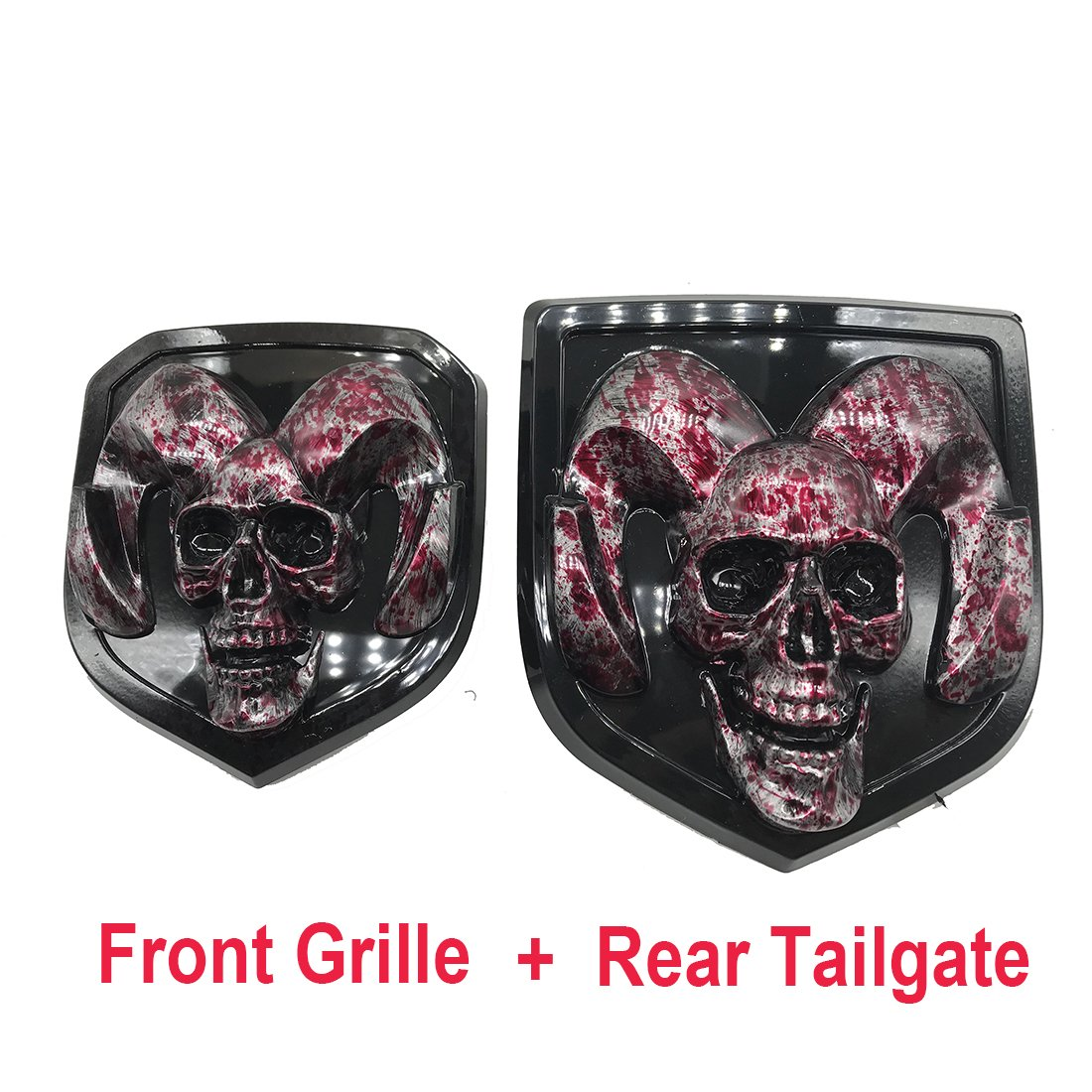 blood skull head Emblem Medallion Skull for Dodge Ram 1500 2500 3500 2013-2018  Tailgate + Grille