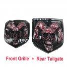 blood skull head Emblem Medallion Skull for Dodge Ram 1500 2500 3500 2013-2018  Tailgate + Grille