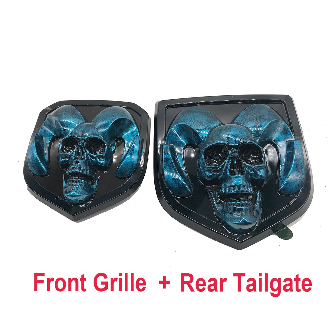 blue skull head Emblem Medallion Skull for Dodge Ram 1500 2500 3500 2013-2018  Tailgate + Grille