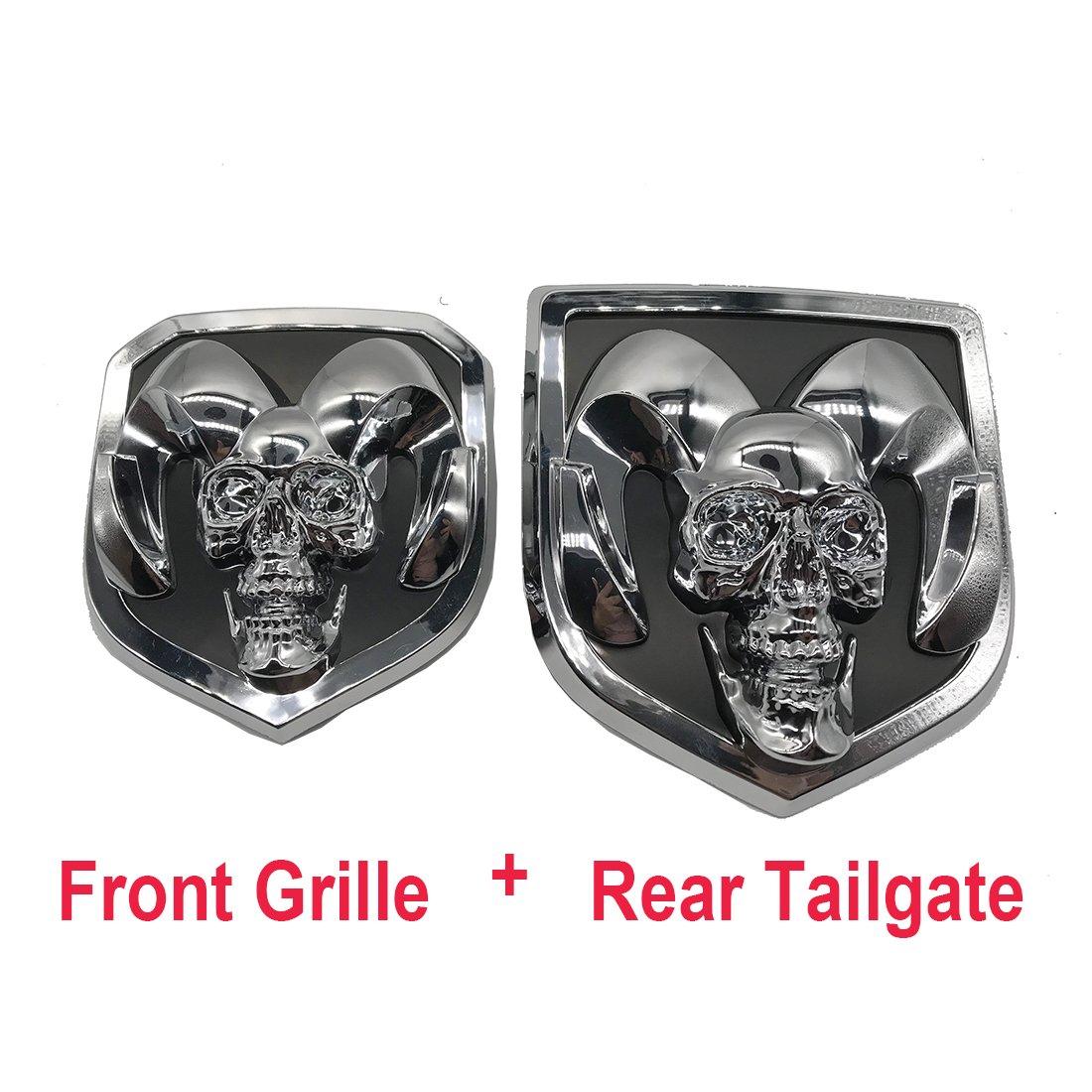 silver skull head Emblem Medallion Skull for Dodge Ram 1500 2500 3500 2013-2018  Tailgate + Grille