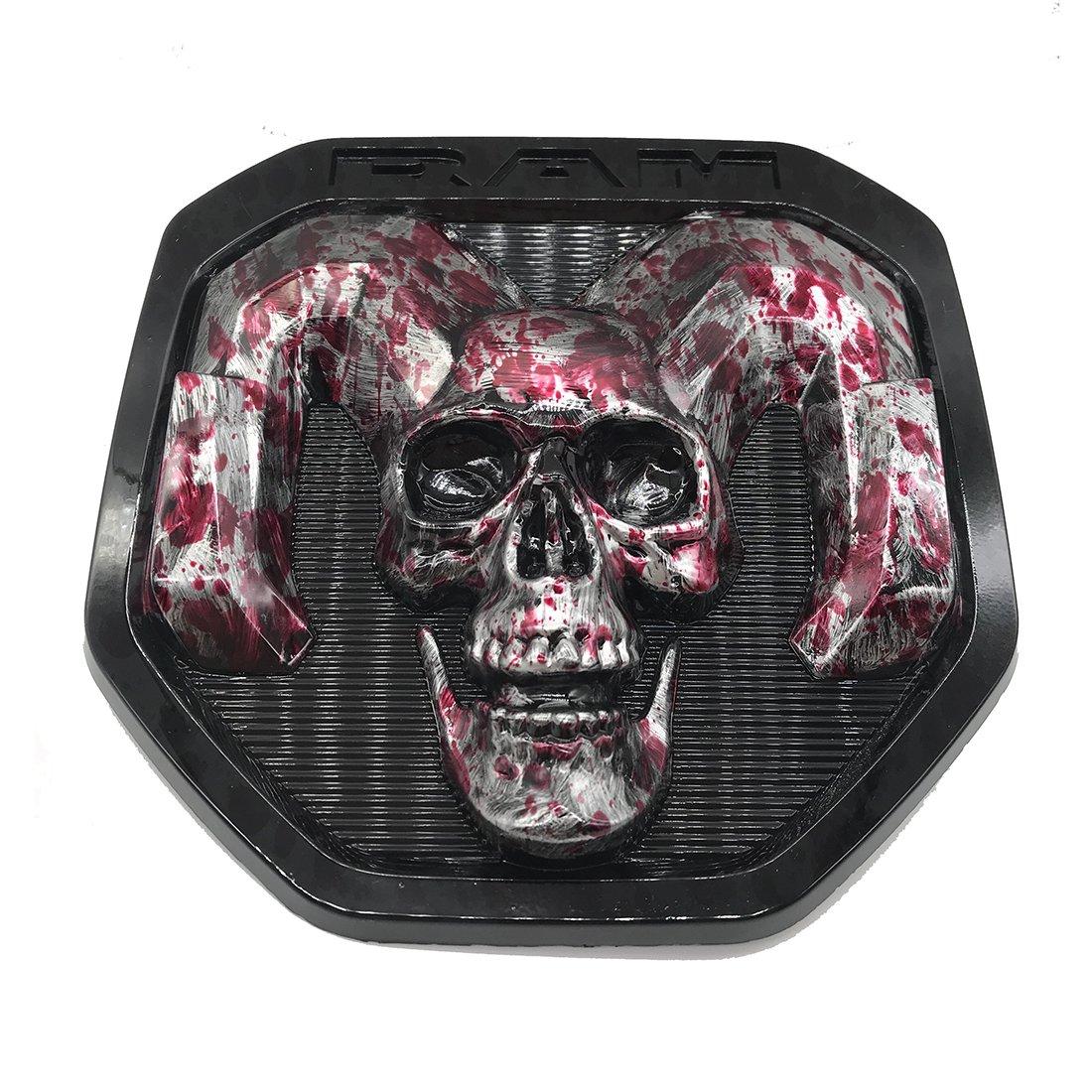 blood skull Tailgate head Emblem Medallion Satin Skul 2019-2020 for Dodge RAM 1500 DT 1500 2500 3500