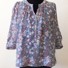 Staring At Stars Top Women's XS Blue Floral Sheer Short Sleeve Cropped Blouse