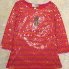 Joan Vass Top Size 4-6 Women's Pink And Orange Stripe Sequin Tunic Top NWT