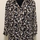 Christopher & Banks Top Size Petite Medium Women's Animal Print Button Front Top