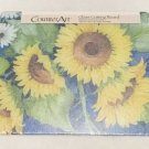 """Counter Art Glass Cutting Board Blue And Yellow Sunflower Print 12"""" x 15"""" New"""