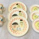 Vintage Big Bird, Cookie Monster, Bert & Ernie Kids Plastic Play Dish Set Toy