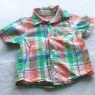 Crazy 8 Shirt Baby Boy Size 12-18 Months Short Sleeve Plaid Shirt