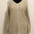 Croft & Barrow Sweater Size Medium Women's Tan Open Knit Fully Lined Sweater