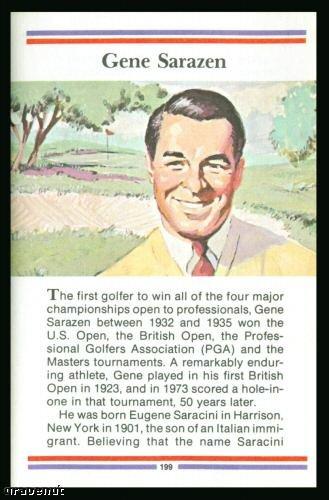 1981 True Value Hardware Gene Sarazen Golf Card Rare
