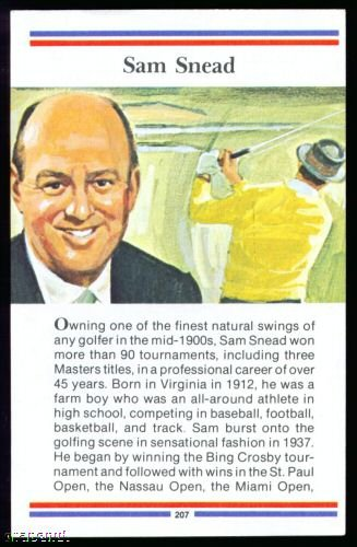 1981 True Value Hardware Sam Snead Golf Card Rare!