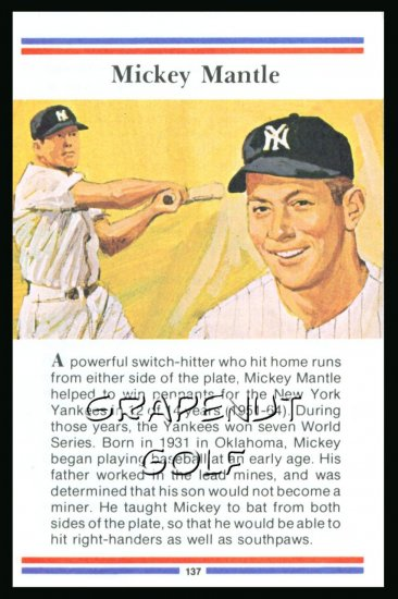 1981 True Value Hardware Mickey Mantle Baseball Card