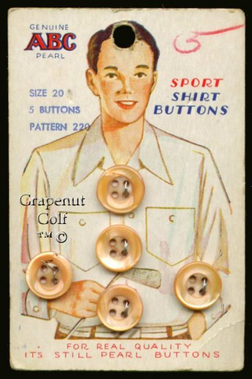 ABC Pearl Shirt Buttons Vintage Antique Old Golf Card