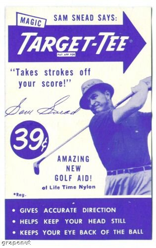 1951 Sam Snead Uncataloged Advertising Trade Golf Card